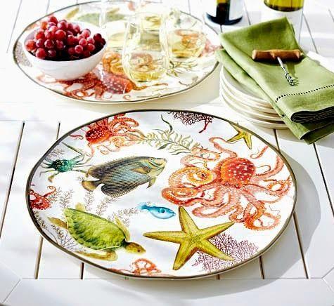 Coastal Melamine Dinnerware... Under the Sea. Starfish, Octopus, Fish, Turtles... and more: http://www.completely-coastal.com/2015/05/coastal-nautical-outdoor-dinnerware.html