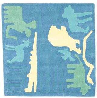 Safari Handtufted - Blå matta 120x120