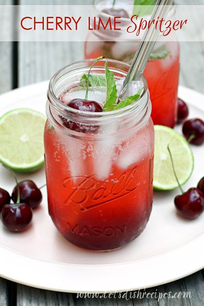 Cherry Lime Spritzer | Fresh cherries, mint and lime come together in ...