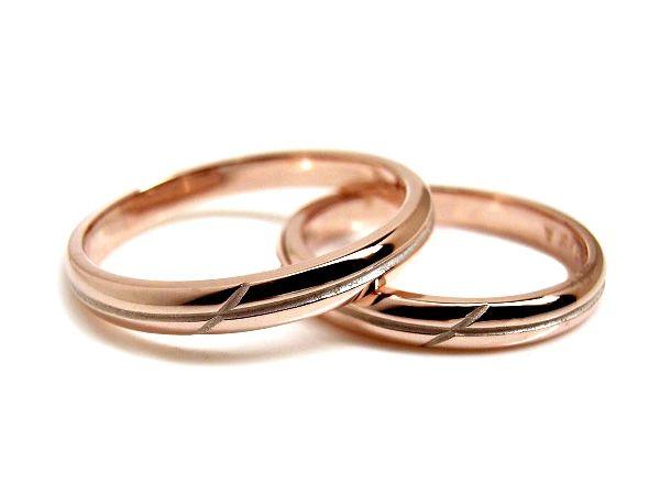 AMBRACE K18 pink gold ring stylish round cross line 2.8mm ピンクゴールド ペアリング スタイリッシュ ラウンド クロス ライン