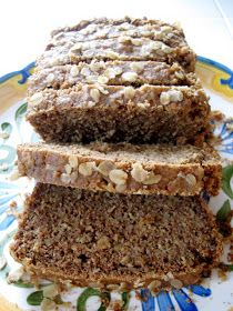 Gluten-Free Oatmeal Bread - Tara approved! Cut sugar in half, use coconut milk, replaced Chia with flax, oat flour for buck wheat flour, ground steel cut oats a little for soaked oats, lowered temp to 325 and cooked longer.