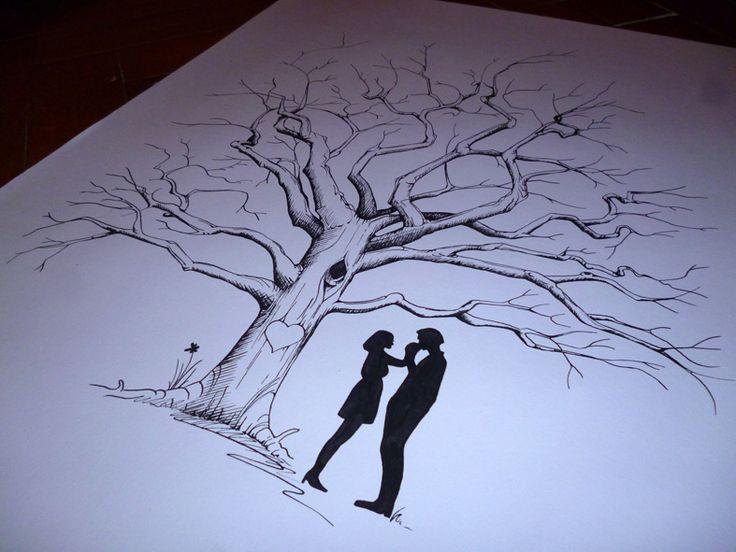 """Svatební strom """"Siluety"""" Originální, ručně malovaný svatební strom. Technika: perokresba Formát: cca 50x70 cm Papír vyšší gramáže 220g bílý Zasíláno srolované v tubusu. Černá nebo modrá tuš. Tento strom je pouze vzor. Vhodné i jako svatební dar."""