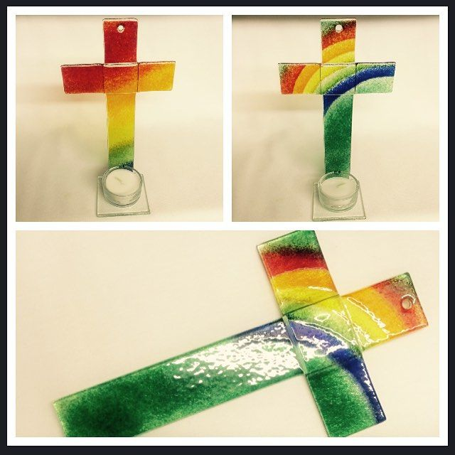 We now have a beautiful range of glass crosses in stock! There are small and large tea light holders and we have some simple, yet stunning hanging crosses! The colours of these are so vibrant, the pictures don't do them justice, and with a candle lit they give off such a unique glow around the room. You could have one of these for yourself or give as a gift! #liverpoolcathedral #cathedralshop #shop #giftshop #gifts #liverpool #crosses #glasscross #candleholder #unique #rainbow #colourful