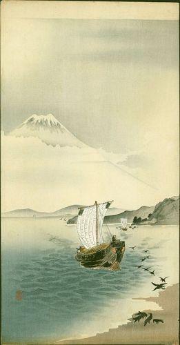 Ohara Koson Japanese Woodblock Print - Snow-capped Mt. Fuji -RARE