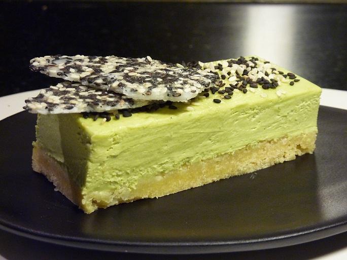 Green Tea & Lime Cheesecake With Sesame Tuille - Gluten Free, Sugar Free