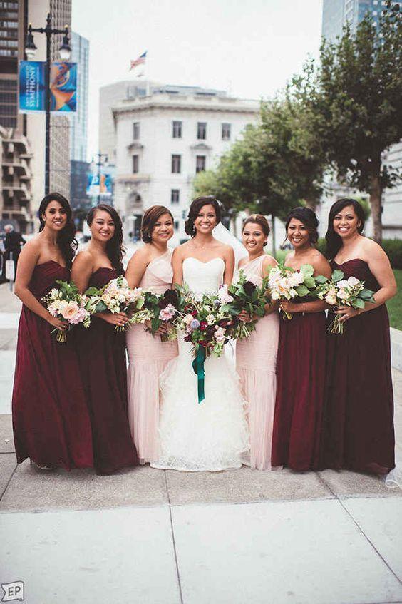 Rich marsala blush pink bridesmaid dresses / http://www.deerpearlflowers.com/burgundy-and-blush-fall-wedding-ideas/
