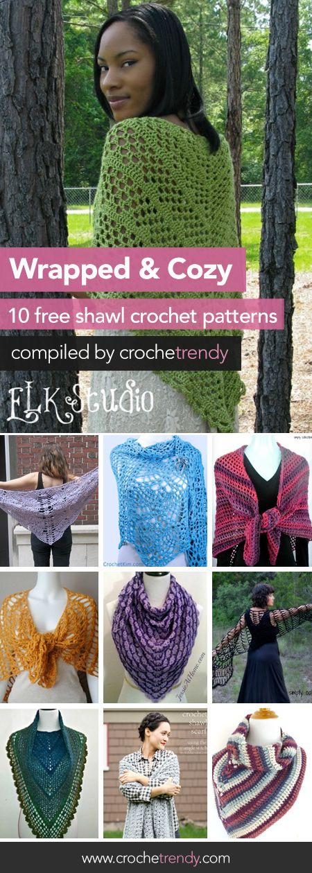 10 Free Shawl & Wrap Crochet Patterns  |  Free Crochet Pattern Roundup by Crochetrendy.com