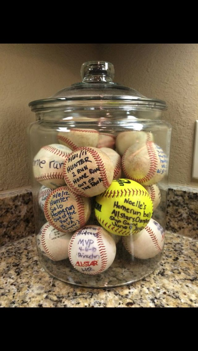 Put kids home run balls in this big glass jar from Walmart!