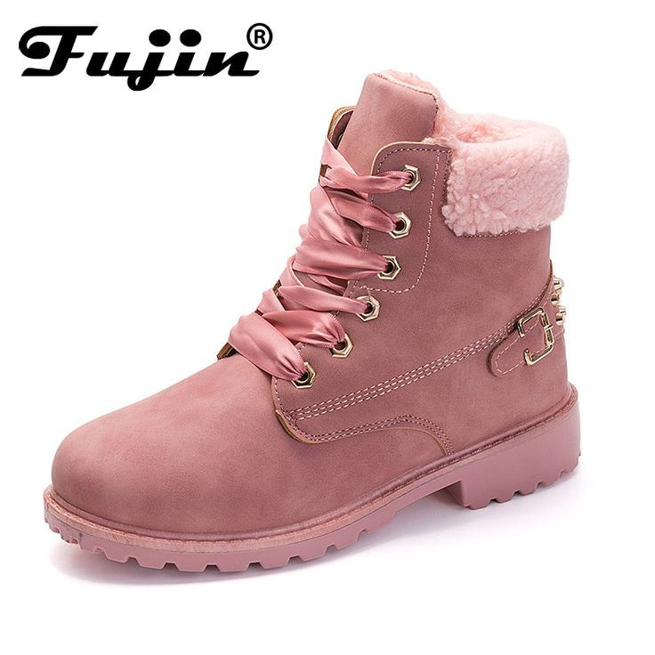 Fujin New Pink Women Boots Lace up Solid Casual Ankle Boots Martin Round Toe Women Shoes winter snow boots warm british style  Price: 19.74 USD