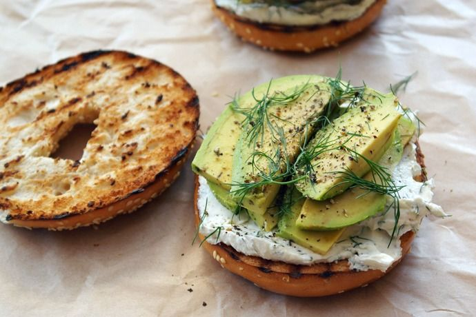 Toasted bagel with dill cream cheese