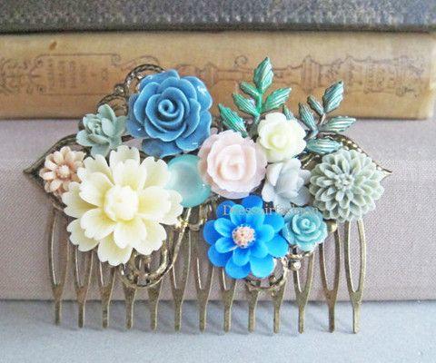 blauw bruiloft bruid haarkam accessoire ivoorkleur grijs groen creme bloemen bladeren elegant sjiek romantisch bruidsmeisje - Dressoir Fashion