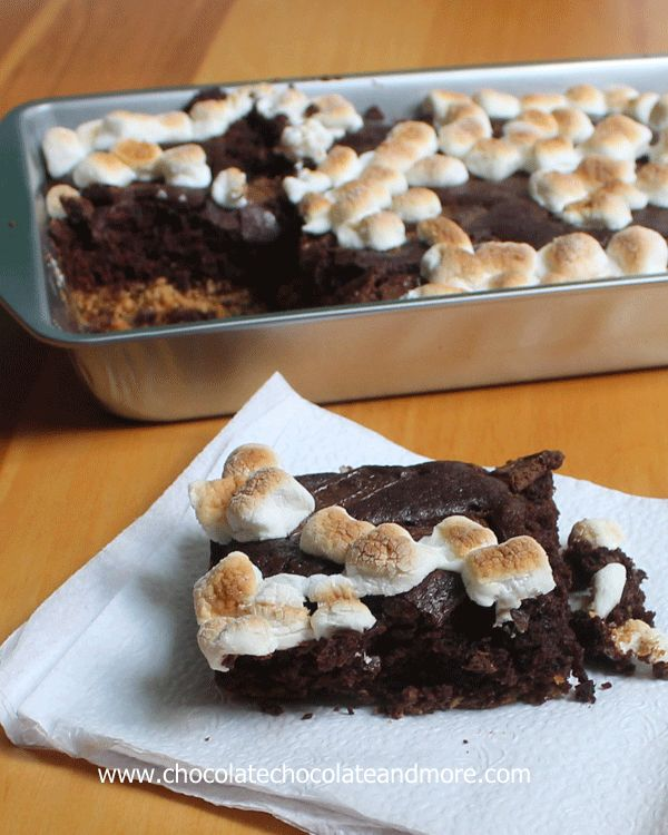 Smore's Brownie Cake-graham cracker crust, chocolatey  cake and topped with toasted marshmallows