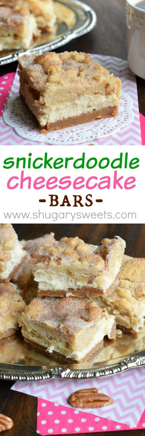 Snickerdoodle Cheesecake Bars: delicious sweet and salty crust, creamy cheesecake filling topped with a cinnamon sugar pecan cookie! #thinkfisher