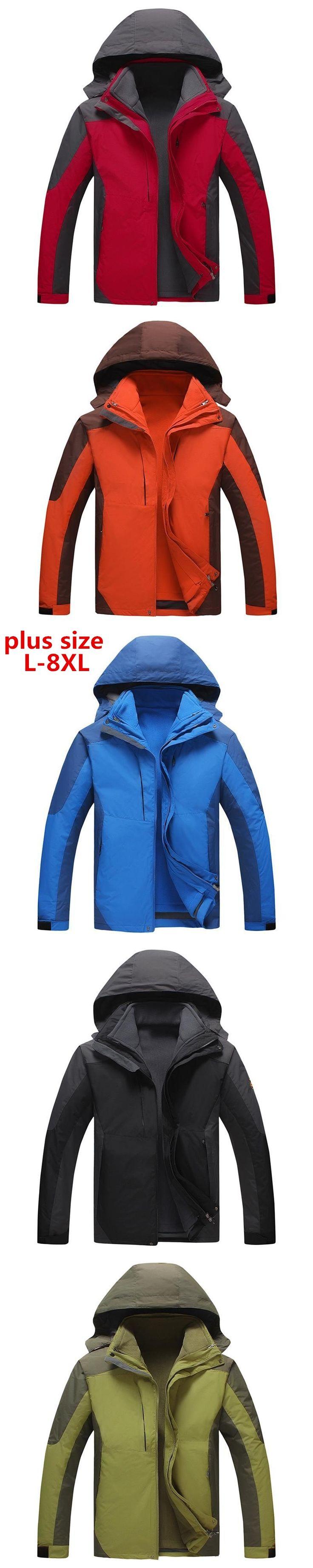 plus size 8XL 6XL 5xl 2 IN 1 Fit Jacket Brand Waterproof Windbreaker Jacket Coat Winter Jacket Men Male Coat Rain Jacket Parka
