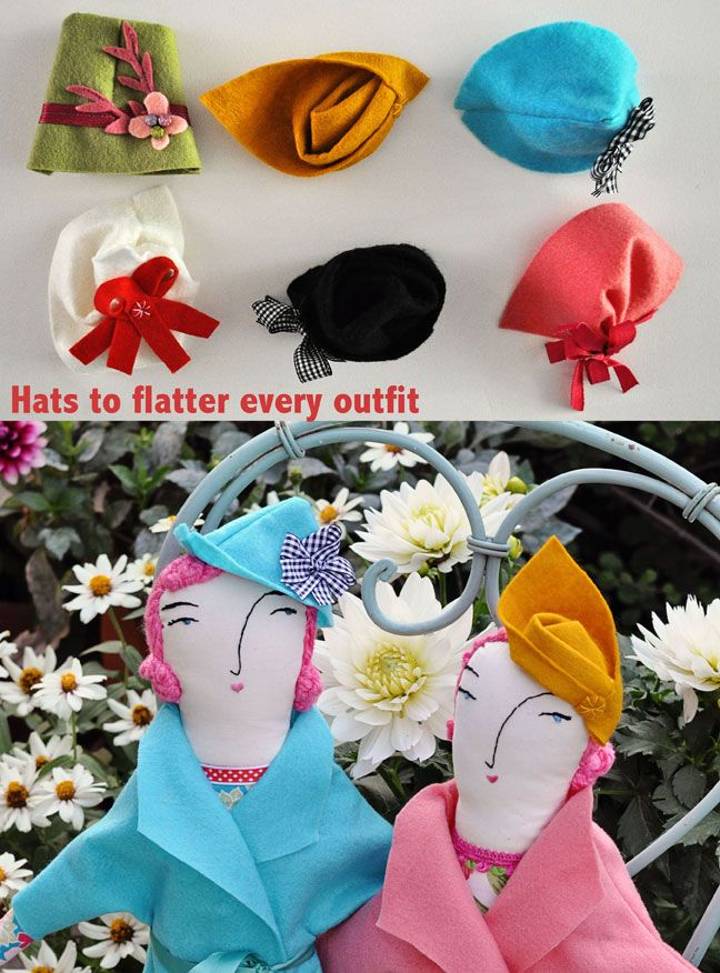 How to make doll hats on the Teacup Incident blog. Every doll looks chic in a hat!
