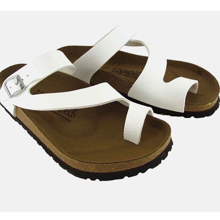 Birkenstock Shoes | Birkis White Fuji Toe Wrap San…