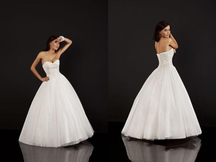 Broadway, tiulowa księżniczka,princessa, koraliki+tiul, kryształki, szeroka suknia ślubna, beza