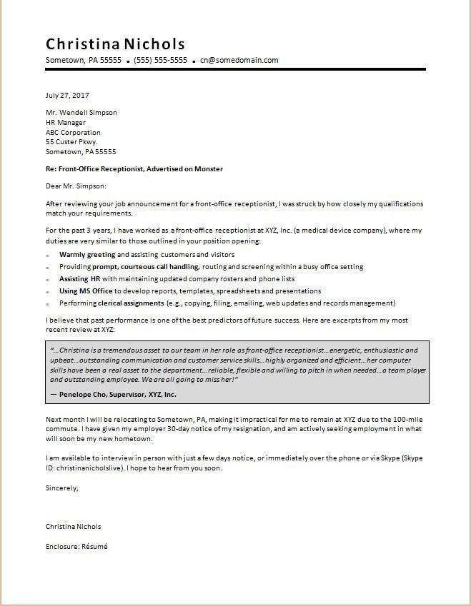 Cover Letter Template Receptionist Resume Format