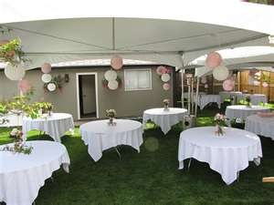 Wonderful idea for a small budget wedding.  Intimate.  A little more color decor with candles and lights???