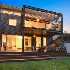 backyard, family home, entertainers deck, dusk