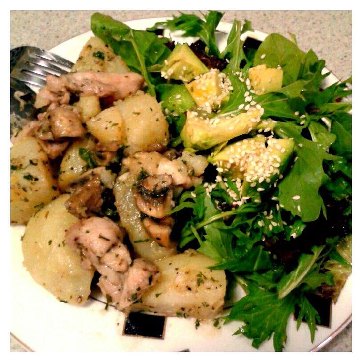 Stir fry chicken with mushroom and potato, with avocado salad.