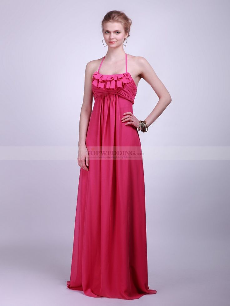 Ruffled Floor Length Chiffon Bridesmaid Dress 0114042