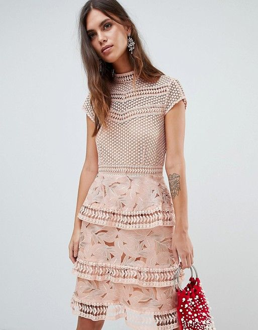 10d5e8c20cd Y.A.S dress with tiered lace detailed mini skirt in pink