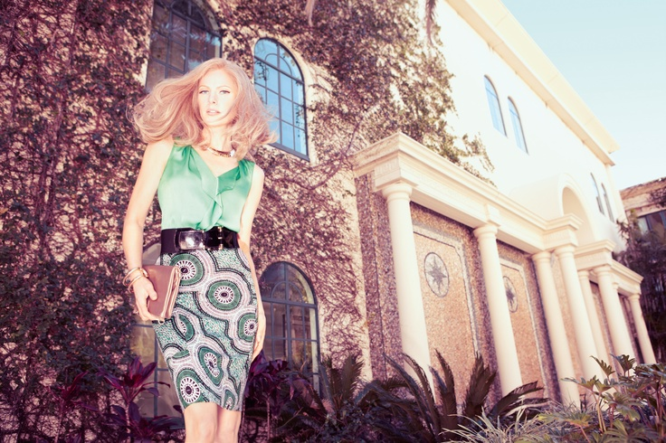David Lawrence: Pencil Skirt and Blouse #geometric