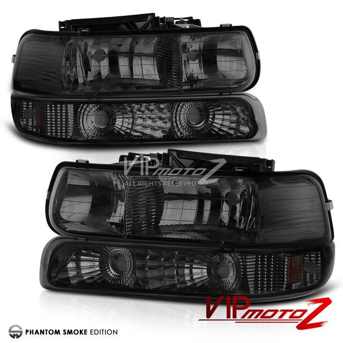 99-02 Chevy Silverado Titanium Smoke Headlight+Bumper Signal Lamp Assembly LH+RH #VIPMOTOZ