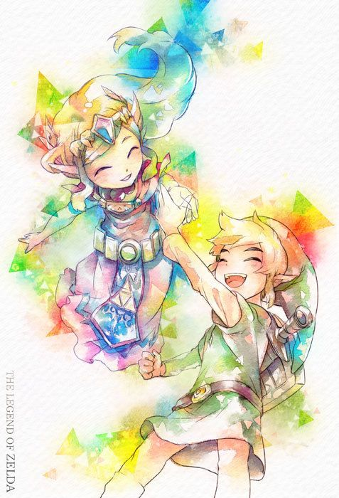 The Legend of Zelda: Spirit Tracks, Toon Link and Toon Princess Zelda / 「姫様といっしょ」/「s+s」のイラスト [pixiv]