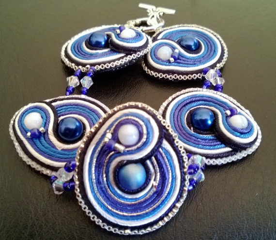 Inspired by the TARDIS Handstitched Soutache by WickedLittleShop, $37.00