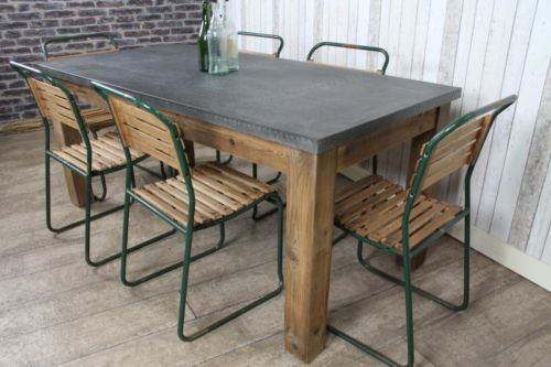 industrial style zinc top dining table large rustic metal. Black Bedroom Furniture Sets. Home Design Ideas