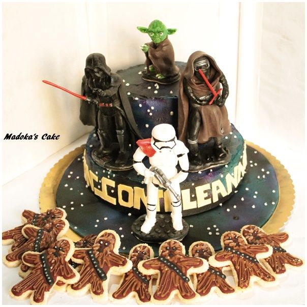 Star Wars, chantilly cream  cake and wookie cookies