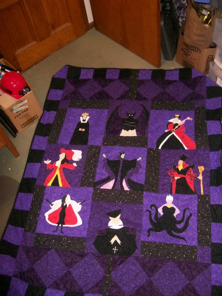 Disney Villain Quilt inspiration- I would replace the villains with hero's. I love the design. Not an actual pattern.