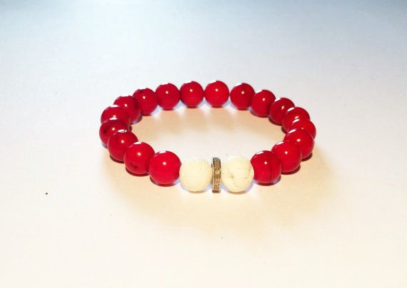 Men bracelet, RED, WHITE and DIAMOND bracelet for him. Red and blue men bracelet with diamond, Coral and diamond bracelet by pearlanajewelry. Explore more products on http://pearlanajewelry.etsy.com