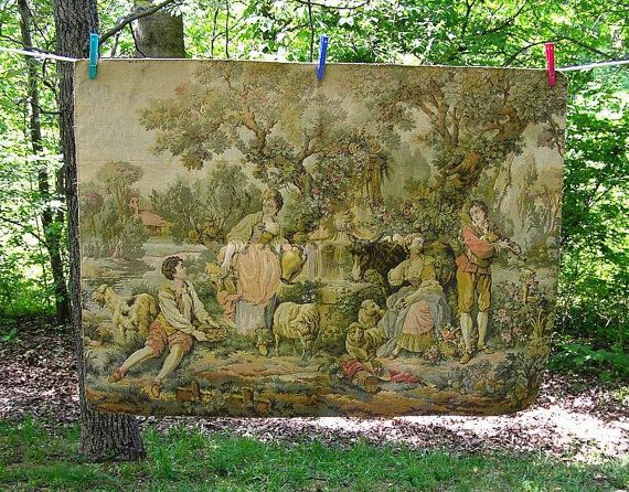 Large Vintage Woven Tapestry with 2 Men & by VictorianWardrobe, $45.00