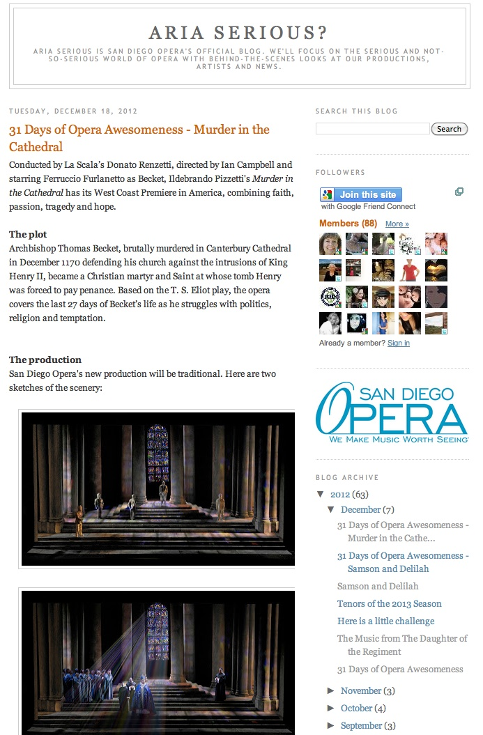 Day 12: 31 Days of Opera Awesomeness continues with a closer look on our new production and West Coast Premiere of Ildebrando Pizzetti's Murder in the Cathedral.
