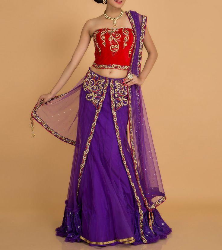 Purple Embellished Net And Velvet #Lehenga Set #Indianroots