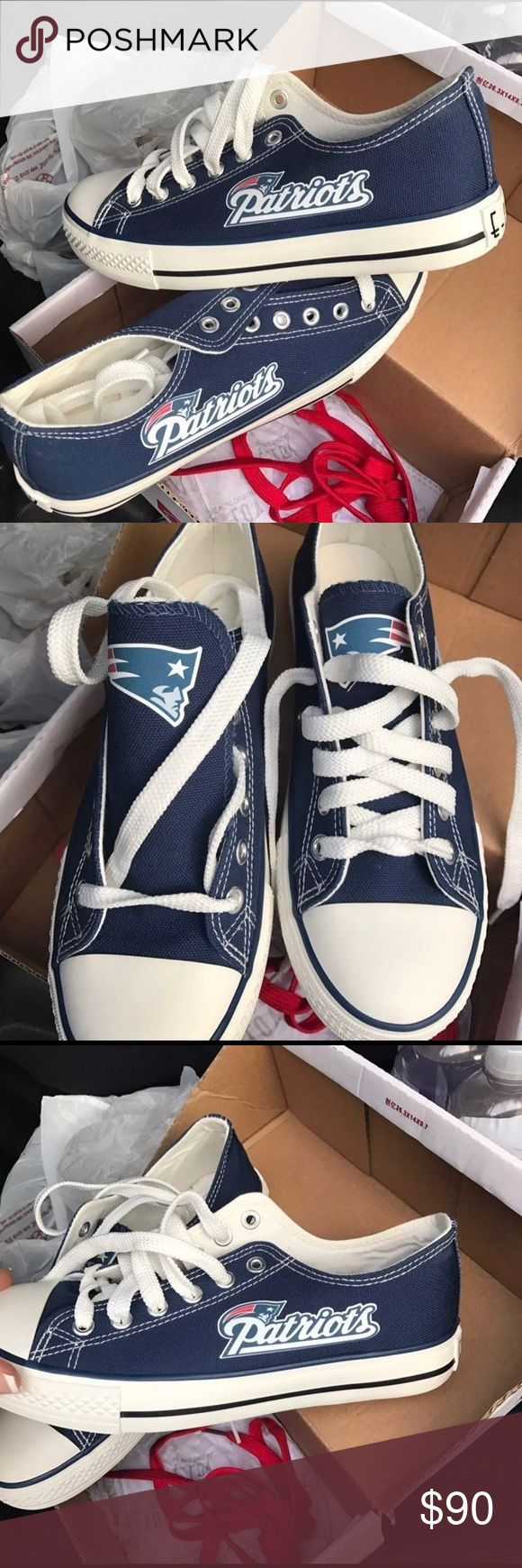 Nib New England patriots sneakers 7/7.5 New in box patriots sneakers. Would fit 7/7.5. I'm an 8 and I had to order a different size they were too small for me. Sz 7.5 get them in time for the super bowl. I hsve these in an 8 and I got so many compliments at the  pats game ! Shoes Sneakers