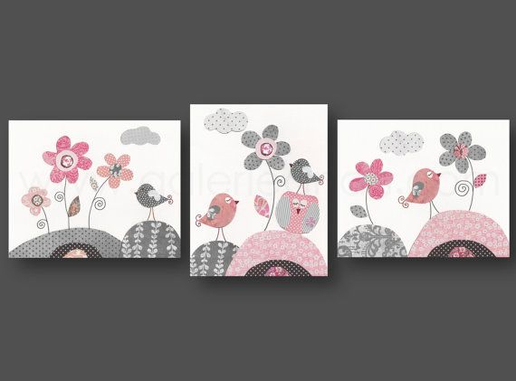 Pink gray Nursery art baby girl nursery decor kids wall art Owl nursery Bird…