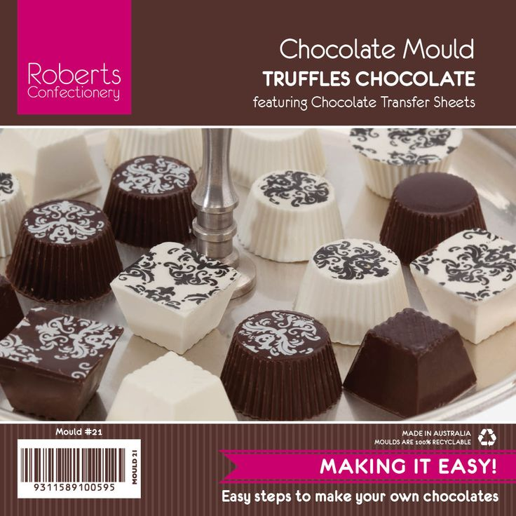 This elegant chocolate mould works well with Damask Chocolate Transfer Sheets.