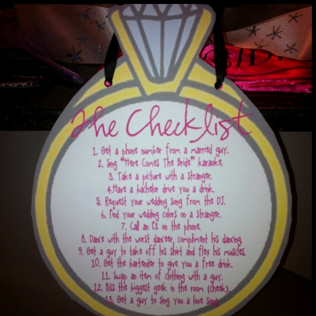 Bachelorette checklist