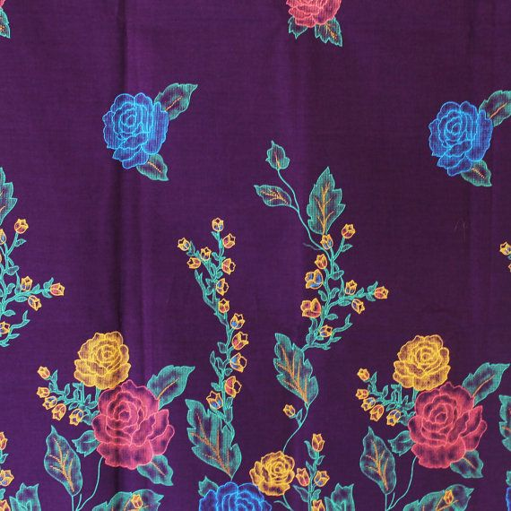 purple flowers gold print traditional Indonesian by TheThailand