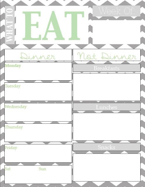 Meal Planning Chart with Free Printable {Guest Post}   May Richer Fuller Be