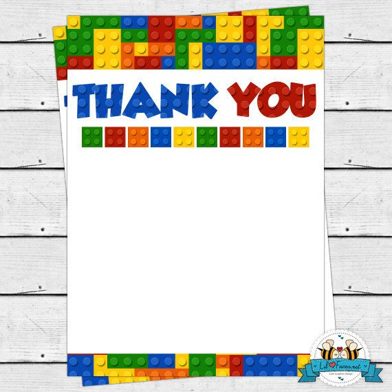 Colorful Building Block Birthday Party Thank You Card