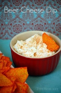 Beer Cheese Dip (easy!)      2 – 8oz pkgs Cream Cheese, softened     1/3 cup beer     1 envelope Ranch Dressing Mix     2 cups Shredded Cheddar Cheese