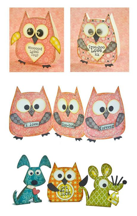 Steel rule owl die can cut multiple layers of paper for accordion card.  Crafting ideas from Sizzix UK: Happi Days