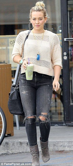 Hilary Duff. Ripped Dark Washed Black Jeans. Cropped Crocheted Sweater. Booties. The mother-of-one was snapped in the denims at Coffee Bean as she made her way to the music studio.