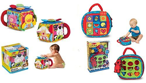 A quality toddler and baby learning toy bundle for kids 6 months and up. Includes Melissa & Doug Musical Farmyard Cube and Take-along Shape Sorter Learning Toys. Great value!!!...
