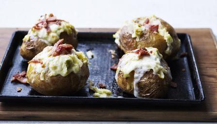 Baked potato with bacon, taleggio and leek